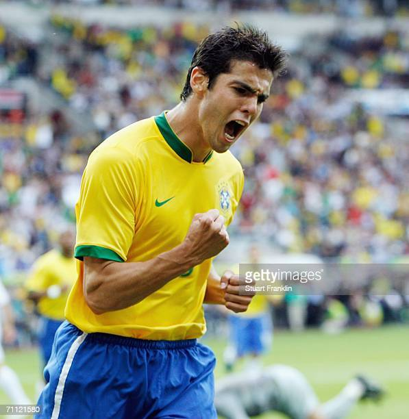 Kaka of Brazil celebrates scoring his goal during the international friendly match between Brazil and New Zealand at the Stadium de Geneva on June 4,...