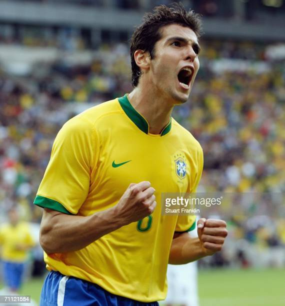 Kaka of Brazil celebrates scoring his goal during the international friendly match between Brazil and New Zealand at the Stadium de Geneva on June 4...