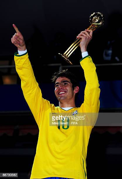 Kaka of Brazil celebrates the adidas Golden Ball trophy after victory over the USA in the FIFA Confederations Cup Final match between USA and Brazil...