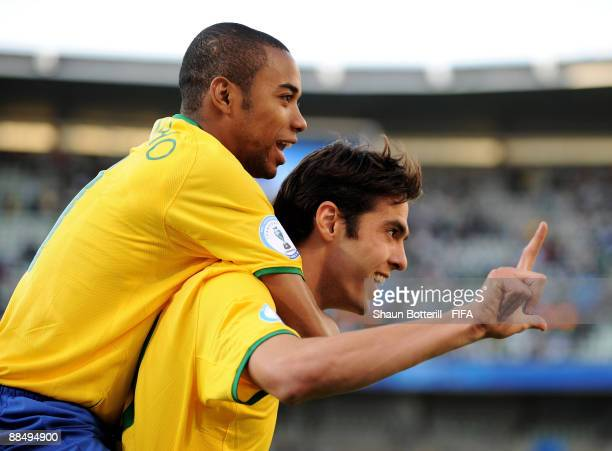Kaka of Brazil celebrates with team-mate Robinho after scoring during the FIFA Confederations Cup match between Brazil and Egypt at Free State...