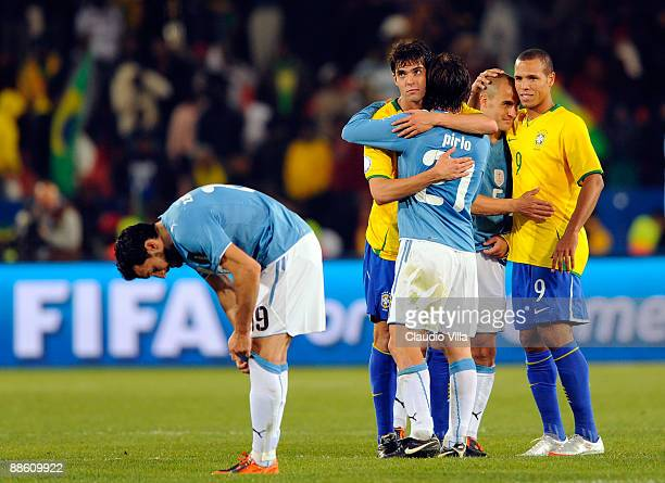 Kaka of Brazil consoles Andrea Pirlo after the match during the FIFA Confederations Cup match between Italy and Brazil played at the Loftus Versfeld...