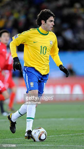 Kaka of Brazil controls the ball during the 2010 FIFA World Cup South Africa Group G match between Brazil and North Korea at Ellis Park Stadium on...