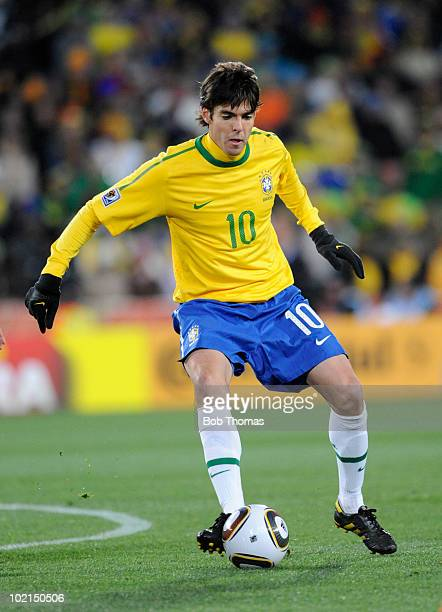 Kaka of Brazil during the 2010 FIFA World Cup South Africa Group G match between Brazil and North Korea at Ellis Park Stadium on June 15, 2010 in...