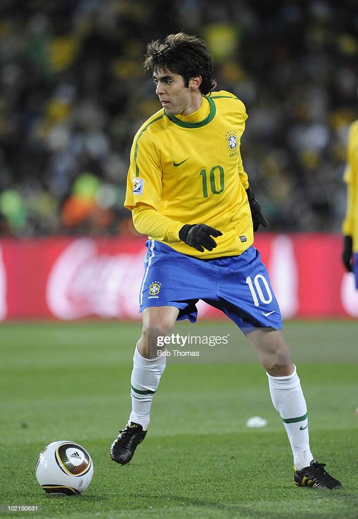 Kaka of Brazil during the 2010 FIFA World Cup South Africa Group G match between Brazil and North Korea at Ellis Park Stadium on June 15, 2010 in Johannesburg, South Africa. Brazil won the match 2-1. (Photo by Bob Thomas/Getty Images).