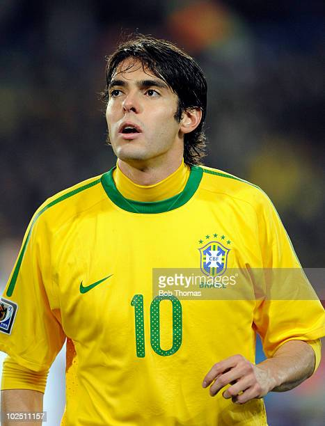 Kaka of Brazil during the 2010 FIFA World Cup South Africa Round of Sixteen match between Brazil and Chile at Ellis Park Stadium on June 28, 2010 in...
