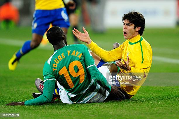 Kaka of Brazil gestures following a clash with Yaya Toure of Ivory Coast during the 2010 FIFA World Cup South Africa Group G match between Brazil and...