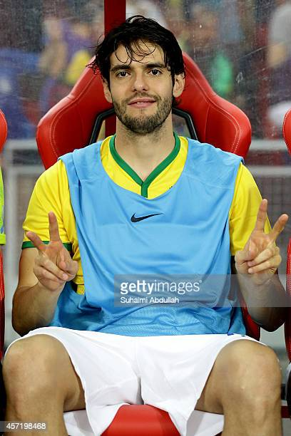 Kaka of Brazil gestures on the team bench during the international friendly match between Japan and Brazil at the National Stadium on October 14 2014...