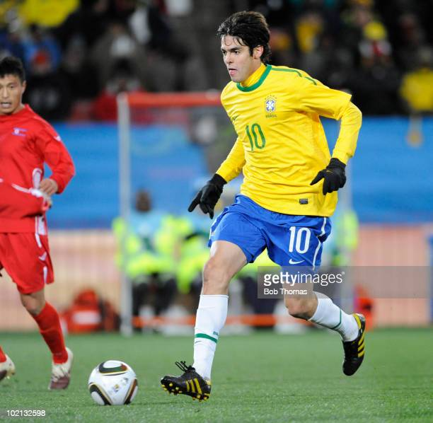 Kaka of Brazil moves the ball during the 2010 FIFA World Cup South Africa Group G match between Brazil and North Korea at Ellis Park Stadium on June...