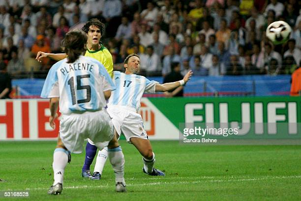 Kaka of Brazil scores his team's second goal during the FIFA 2005 Confederations Cup Final between Brazil and Argentina at the Waldstadion on June 29...