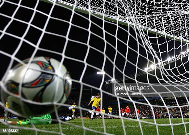 Kaka of Brazil scores the winning goal from the penalty spot during the FIFA Confederations Cup match between Brazil and Egypt at The Free State...