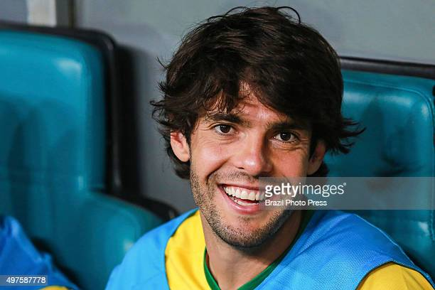 Kaka of Brazil smiles during a match between Brazil and Peru as part of FIFA 2018 World Cup Qualifiers at Arena Fonte Nova Stadium on November 17...