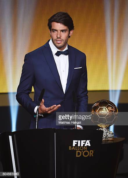 Kaka of Brazil speaks during the FIFA Ballon d'Or Gala 2015 at the Kongresshaus on January 11, 2016 in Zurich, Switzerland.