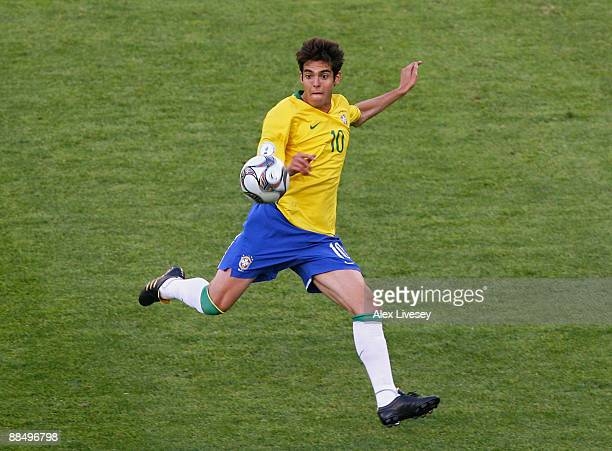 Kaka of Brazil volleys the ball during the FIFA Confederations Cup match between Brazil and Egypt at the Free State Stadium on June 15 2009 in...