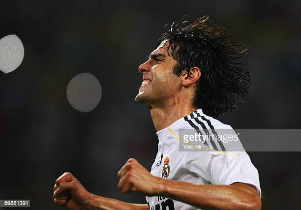 Kaka of Madrid celebrates after scoring from a penalty kick the 04 goal during a friendly match between Borussia Dortmund and Real Madrid at the...