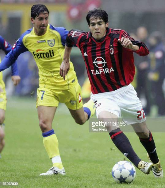 Kaka of Milan and Franco Semioli of Chievo in action during the Serie A match between AC Milan and Chievo at the Giuseppe Meazza San Siro stadium on...