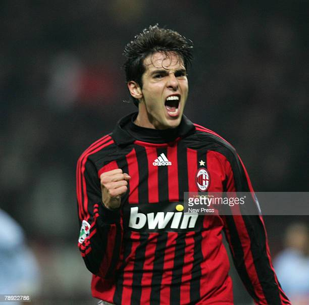 Kaka of Milan celebrates after scoring during the Serie A match between AC Milan and Napoli at the San Siro on January 13 2008 in Milan Italy