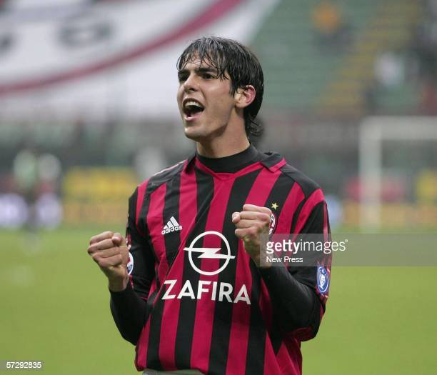 Kaka of Milan celebrates during the Serie A match between AC Milan and Chievo at the Giuseppe Meazza San Siro stadium on April 9, 2006 in Milan,...
