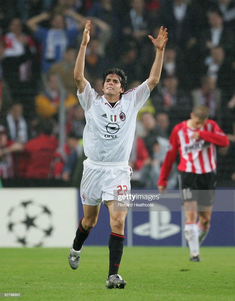 Kaka of Milan celebrates scoring during the UEFA Champions League Semi Final, 2nd Leg, match between PSV Eindhoven and AC Milan, held at The Philips Stadion on May 4, 2005 in Eindhoven, Netherlands.