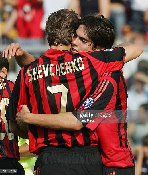 Kaka of Milan congratulates team mate Andriy Shevchenko on scoring during the Serie A match between Treviso and Milan at the Euganeo Stadium on...