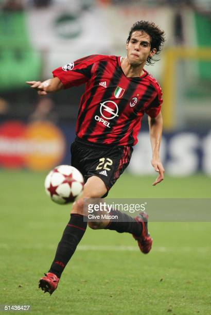 Kaka of Milan in action during the UEFA Champions League Group F match between AC Milan and Celtic at the San Siro on September 29 2004 in Milan Italy