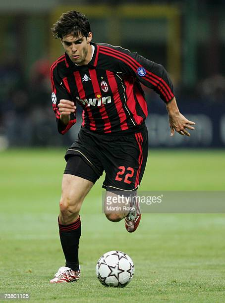 Kaka of Milan runs with the ball during the UEFA Champions League quarter final first leg match between AC Milan and Bayern Munich at the Giuseppe...