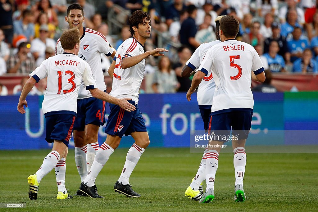 Kaka #22 of MLS All-Stars celebrates after striking a penalty kick for a goal in the 20th minute to take a 1-0 lead over the Tottenham Hotspur during the 2015 AT&T Major League Soccer All-Star game at Dick's Sporting Goods Park on July 29, 2015 in Commerce City, Colorado. The MLS All-Stars defeated Tottenham Hotspur 2-1.