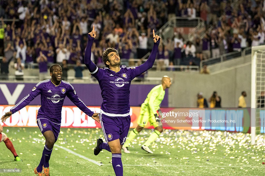 Kaka #10 of Orlando City SC celebrates a goal in the second half during a game against the Portland Timbers at the Citrus Bowl on April 3, 2016 in Orlando, Florida.
