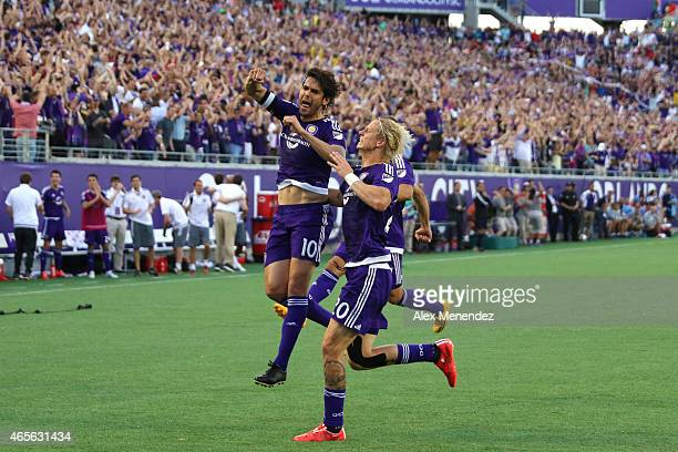 Kaka of Orlando City SC celebrates after he scores the first goal in team history during an MLS soccer match between the New York City FC and the...