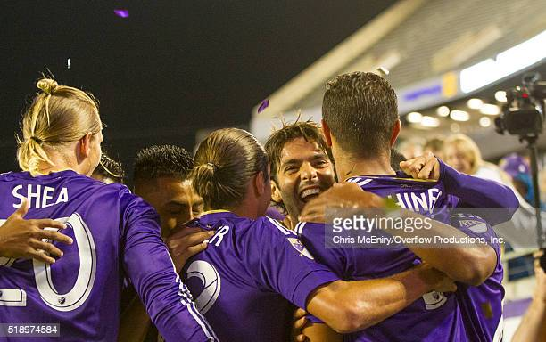 Kaka of Orlando City SC celebrates with his teammate after opening the scoring with an assist to Seb Hines against the Portland Timbers at Citrus...
