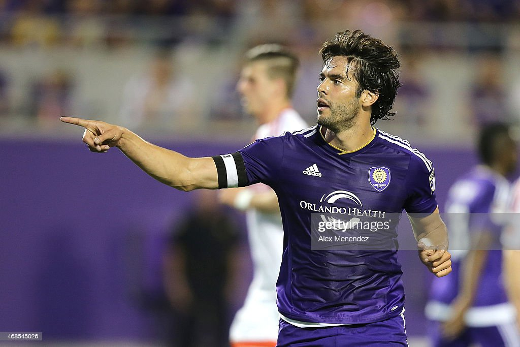 Kaka #10 of Orlando City SC gives instructions to his teammates during a MLS soccer match between DC United and the Orlando City SC at the Orlando Citrus Bowl on April 3, 2015 in Orlando, Florida.