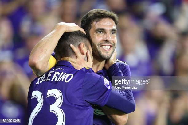 Kaka of Orlando City SC hugs Antonio Nocerino who scored a goal during a MLS soccer match against the New England Revulution at Orlando City Stadium...