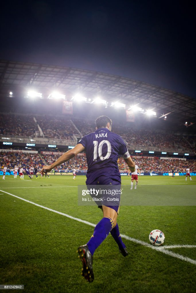 Kaka #10 of Orlando City SC takes the corner kick during the MLS match between New York Red Bulls and Orlando City SC at the Red Bull Arena on August 12, 2017 in HARRISON, NJ. The New York Red Bulls won the match with a score of 3 to 1.