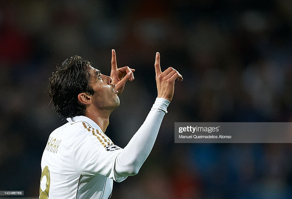 Kaka of Real Madrid celebrates after scoring during the UEFA Champions League quarter-final second leg match between Real Madrid and APOEL FC at Bernabeu on April 4, 2012 in Madrid, Spain.