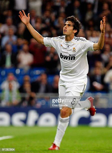 Kaka of Real Madrid celebrates after scoring during the UEFA Champions League Group C match between Real Madrid and Marseille at Santiago Bernabeu on...