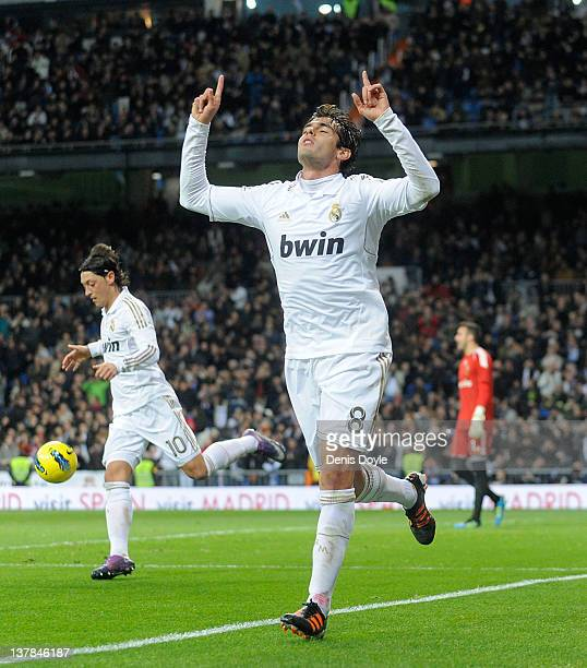 Kaka of Real Madrid celebrates after scoring Real's opening goal during the La Liga match between Real Madrid and Real Zaragoza at Estadio Santiago...
