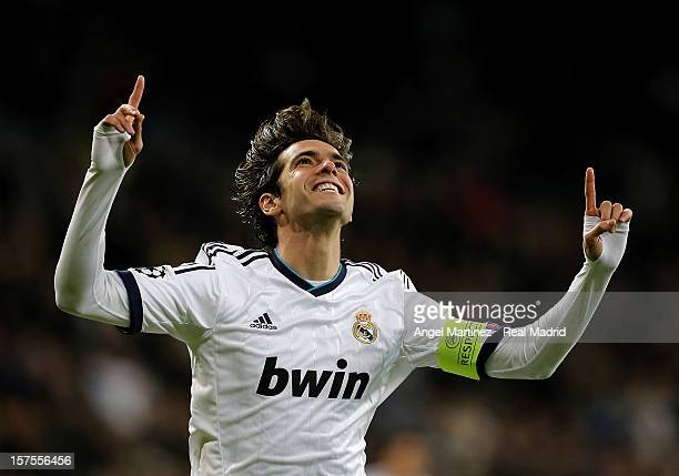 Kaka of Real Madrid celebrates after scoring Real's third goal during the UEFA Champions League Group D match between Real Madrid and Ajax Amsterdam...