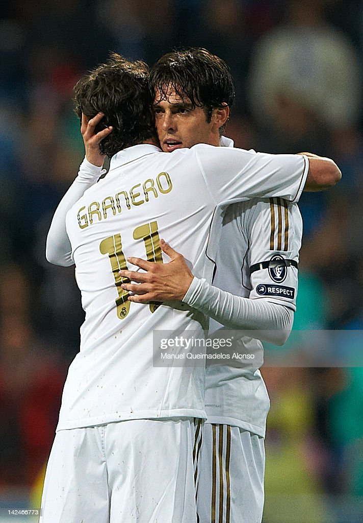 Kaka of Real Madrid celebrates scoring with his team-mate Esteban Granero during the UEFA Champions League quarter-final second leg match between Real Madrid and APOEL FC at Bernabeu on April 4, 2012 in Madrid, Spain.