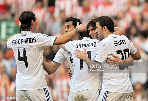 Kaka of Real Madrid celebrates with Sergio Ramos Esteban Granero and Gonzalo Higuain after scoring Real's second goal during the La Liga match...