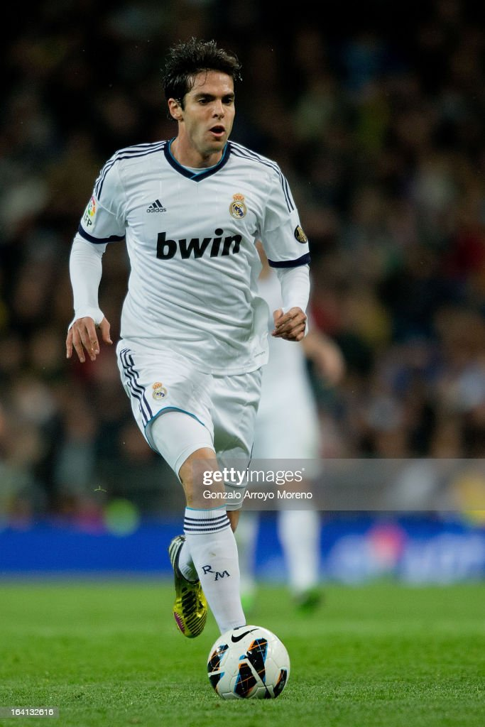 Kaka of Real Madrid CF controls the ball during the La Liga match between Real Madrid CF and RCD Mallorca at Santiago Bernabeu Stadium on March 16, 2013 in Madrid, Spain.