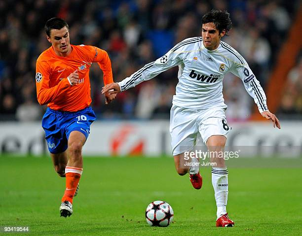 Kaka of Real Madrid competes for the ball with Alain Rochat of FC Zurich during the Champions League group C match between Real Madrid and FC Zurich...