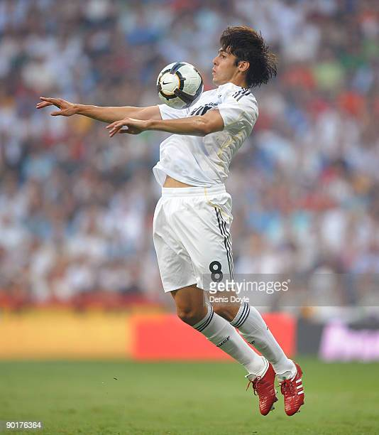 Kaka of Real Madrid controls the ball during the La Liga match between Real Madrid and Deportivo La Coruna at the Santiago Bernabeu stadium on August...