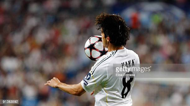 Kaka of Real Madrid controls the ball during the UEFA Champions League Group C match between Real Madrid and Marseille at Santiago Bernabeu on...