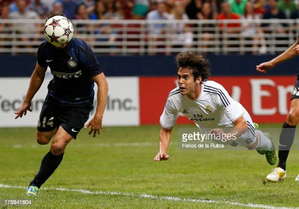 Kaka of Real Madrid head scores a goal during the pre-season friendly match between Real Madrid CF and FC Internazionale Milano at Edward Jones Dome...