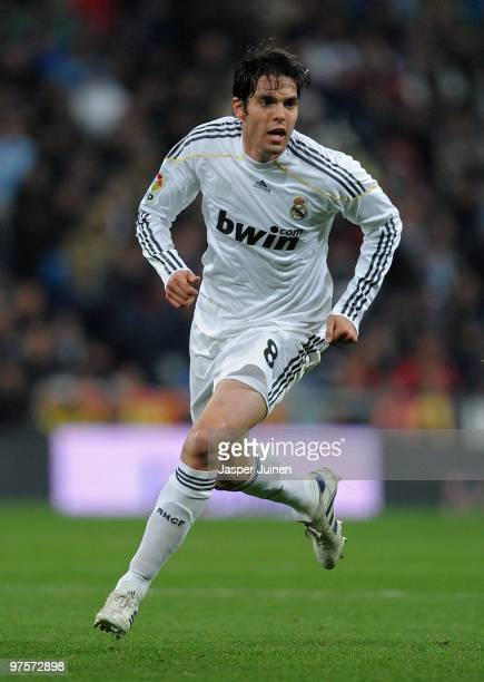Kaka of Real Madrid in action during the La Liga match between Real Madrid and Sevilla at the Estadio Santiago Bernabeu on March 6 2010 in Madrid...