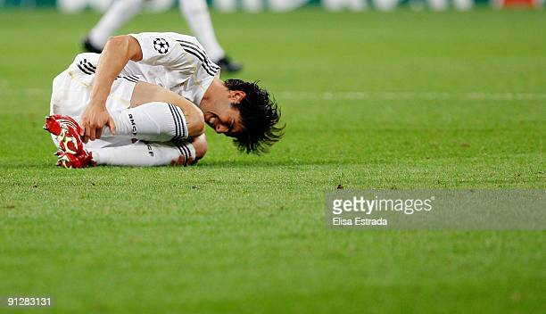 Kaka of Real Madrid lies injured during the UEFA Champions League Group C match between Real Madrid and Marseille at Santiago Bernabeu on September...
