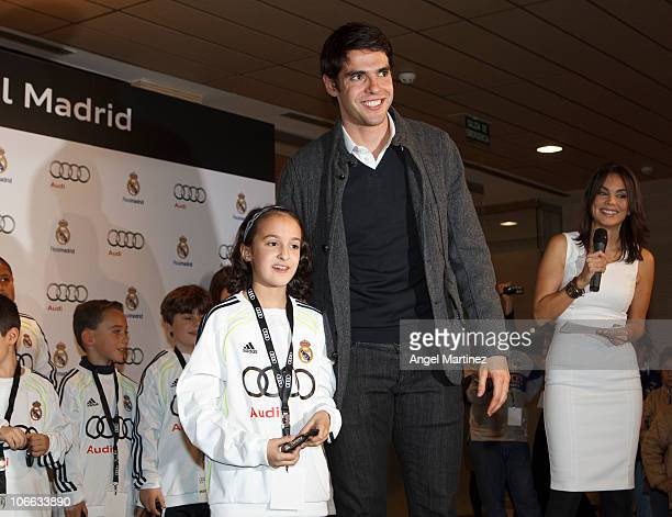 Kaka of Real Madrid poses during the presentation of Real Madrid's new cars made by Audi at Estadio Santiago Bernabeu on November 8 2010 in Madrid...