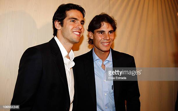 Kaka of Real Madrid poses with Rafael Nadal before the Alma 2010 The Real Madrid Foundation Gala at Teatros del Canal on November 5 2010 in Madrid...