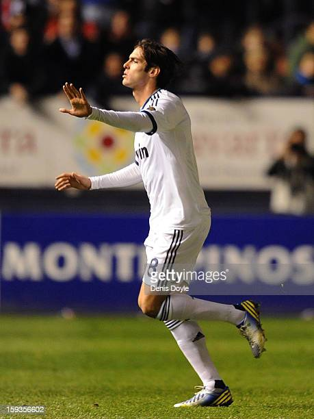 Kaka of Real Madrid reacts after being shown the red card during the La Liga match between Osasuna and Real Madrid at estadio Reino de Navarra on...