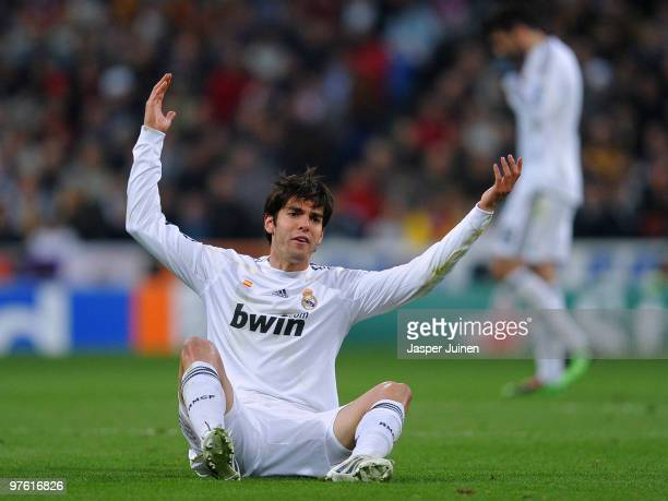 Kaka of Real Madrid reacts during the UEFA Champions League round of 16 second leg match between Real Madrid and Lyon at the Estadio Santiago...