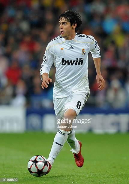 Kaka of Real Madrid runs with the ball during the Champions League group C match between Real Madrid and AC Milan at the Estadio Santiago Bernabeu on...